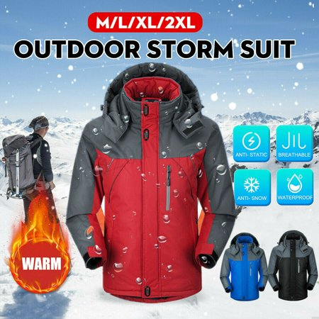Men Women Winter Warm Outdoor Jacket Fleece Lined Waterproof Ski Snowboard Coat Outwear-Black,2XL Ski Snowboard Suit