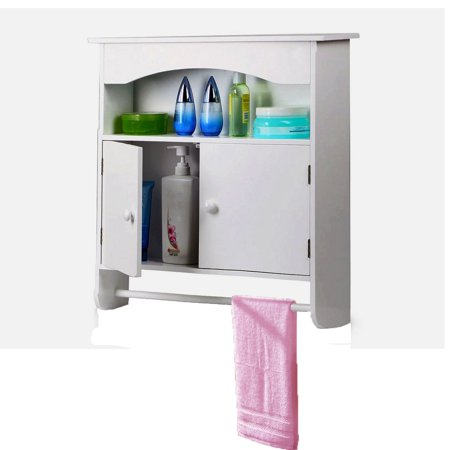 White Wooden Bathroom Wall Cabinet Toilet Medicine Storage Organiser