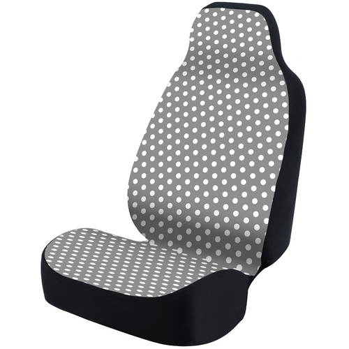 Coverking Universal Seat Cover Fashion Print, Ultra Suede, Polka Dots White and Grey Background with Black Interlock Backing