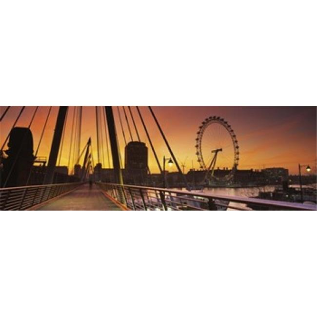 Panoramic Images PPI105419L Bridge with ferris wheel  Golden Jubilee Bridge  Thames River  Millennium Wheel  City Of Westminster  London  England Poster Print by Panoramic Images - 36 x 12 - image 1 of 1