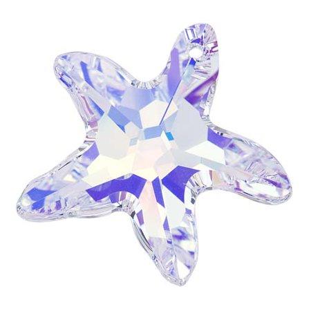 Swarovski Crystal, #6721 Starfish Pendant, 28mm, 1 Piece, Crystal AB 6721 Starfish Pendants Swarovski Crystal