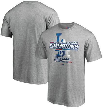 Los Angeles Dodgers Majestic 2018 National League Champions Locker Room T-Shirt - Heather