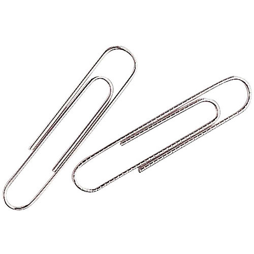 SchoolSmart Smooth Nickel Finish Paper Clips, Silver, 100-Pack