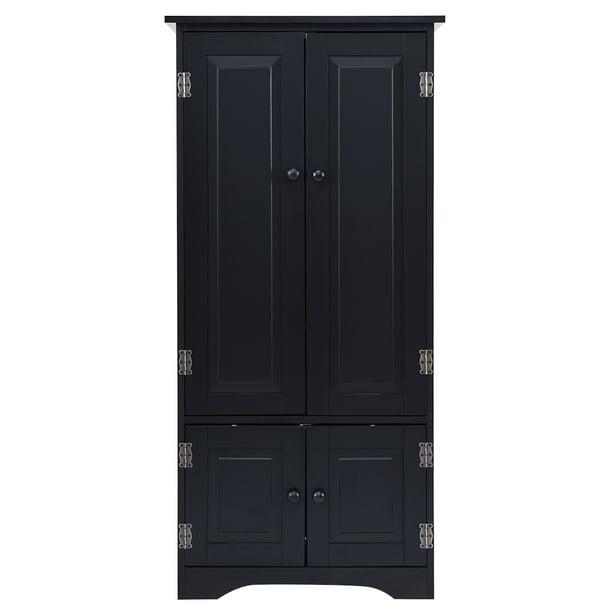 Bedroom Accent Storage Floor Cabinet Adjustable Shelves Black/ Off White