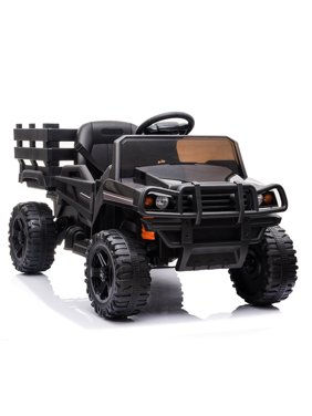 enyopro Electric 4 Wheels Kids Toys, Kids Ride-on Tractor with Trailer, 12V Battery Powered Car w/ Parental Remote Control, Safety Belt, Music, MP3 Player, Head Lights, Motorized Truck for Boys Girls