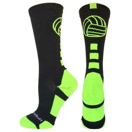 (Volleyball Logo Crew Socks (Black/Electric Green, Large))