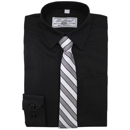 Boltini Italy Boys Kids Toddlers Long Sleeve Dress Shirt Set with Matching Tie (Black, 12)](Kids Dress Shorts)