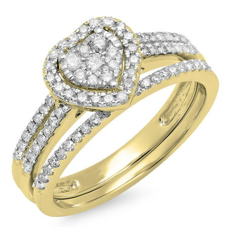 Dazzlingrock Collection 0.50 Carat (ctw) 10K Round Cut Diamond Ladies Split Shank Heart Shaped Bridal Engagement Ring With Matching Band Set 1/2 CT, Yellow Gold, Size (Wedding Band To Match Split Shank Engagement Ring)
