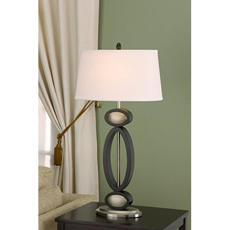 Infinity Brushed Nickel Finish - Artiva USA Infinity, Contemporary Design, 33.5-Inch Dark Walnut, Espresso and Brushed Steel Finished Modern Table Lamp
