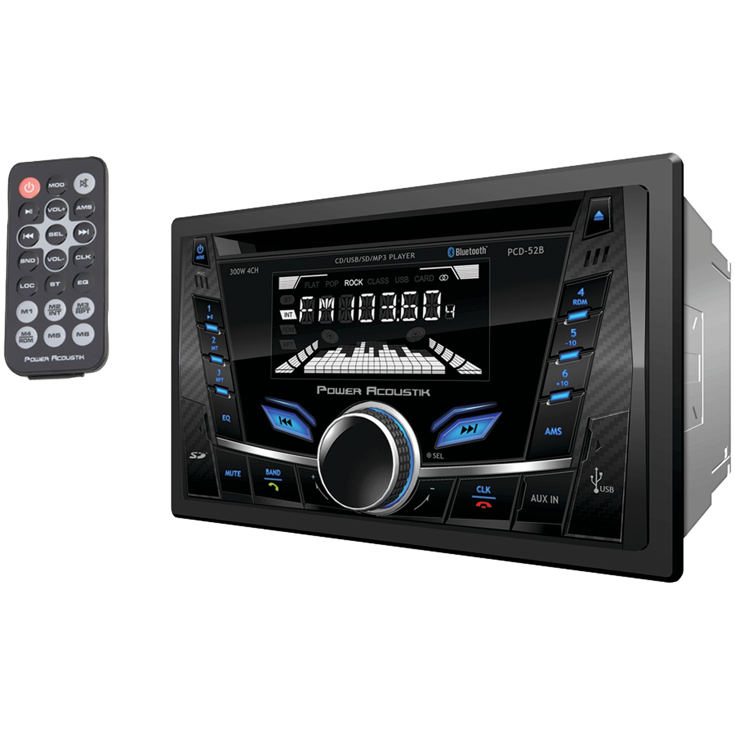 Power Acoustik PCD-52B Single-DIN In-Dash CD/MP3 AM/FM Receiver (With Bluetooth)