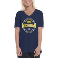 Michigan Wolverines Women's Double Ribbon Arch V-Neck T-Shirt - Navy/Maize
