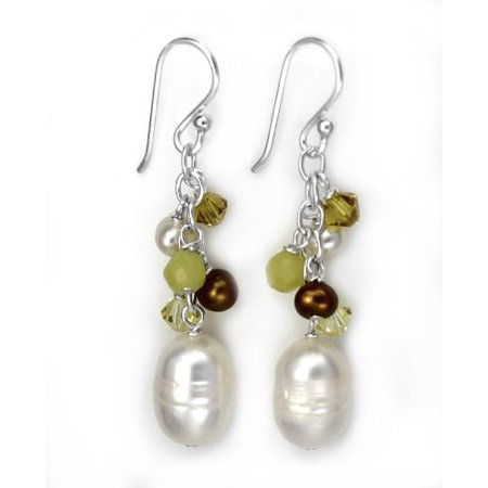 Sterling Silver Pearls, Swarovski Crystals, and Green Stones Cluster with Pearl Drop Earrings