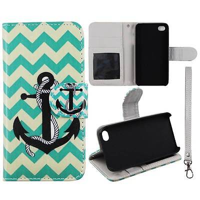 For Apple Iphone 4 4S Wallet Aqua Stripe Anchor Syn Leather Folio Dual Layer Interior Design Flip PU Leather case Cover Card Cash Slots & Stand  Cover