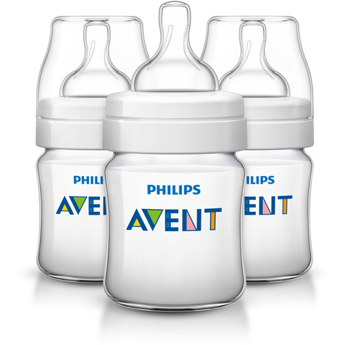 Philips Avent Classic Plus Baby Bottle, 4 Ounces, 3-Pack, BPA-Free, SCF560/37