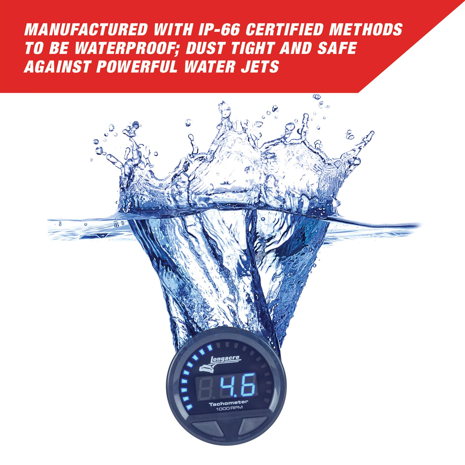 Longacre 52-46863 Digital Elite Waterproof Tach 2-5//8 Inch