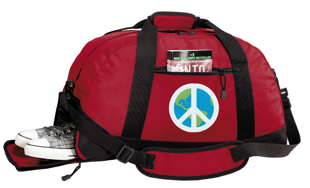 Peace Sign Gym Bags Peace Sign Duffle Bag WITH SHOE POCKET! by