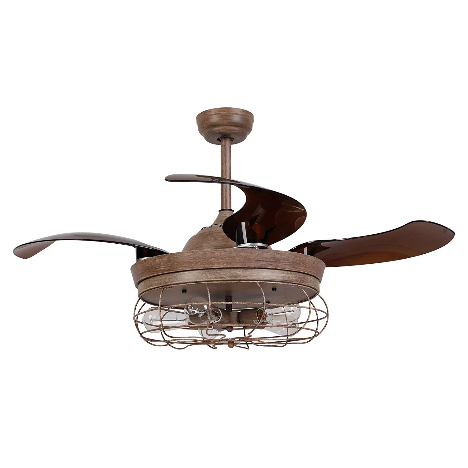 Ceiling Fan With Light 46 Inch Retractable Blades Vintage Cage Chandelier Remote Control 5 Edison Bulbs Needed Not