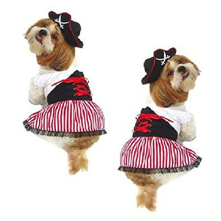 LADY PIRATE DOG COSTUMES - Dress Your Pup Nautical Halloween Sailor Dress & Hat(Size - Dog Pirate Costumes