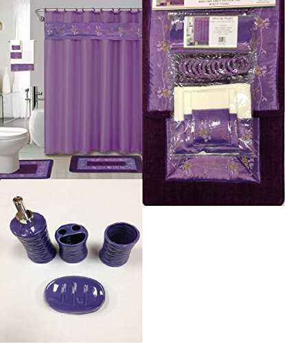 Shower curtains at home territory for Purple bathroom bin