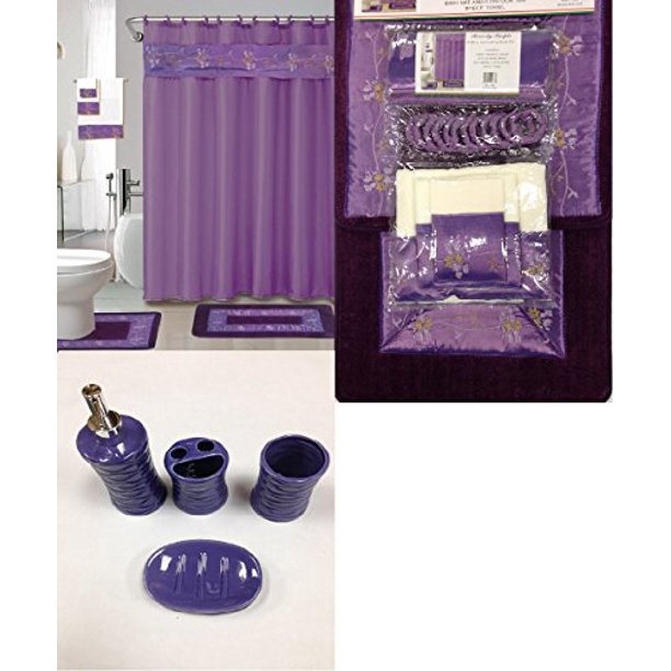 22 Piece Bath Accessory Set Purple Flower Bath Rug Set Shower Curtain Accessories Walmart Com Walmart Com