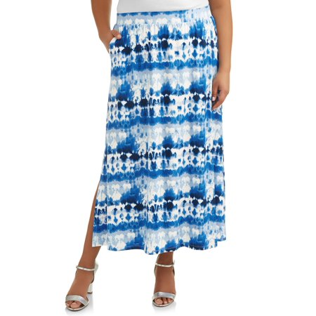 Women's Plus Size Super Soft Elastic Waistband Knit Maxi Skirt