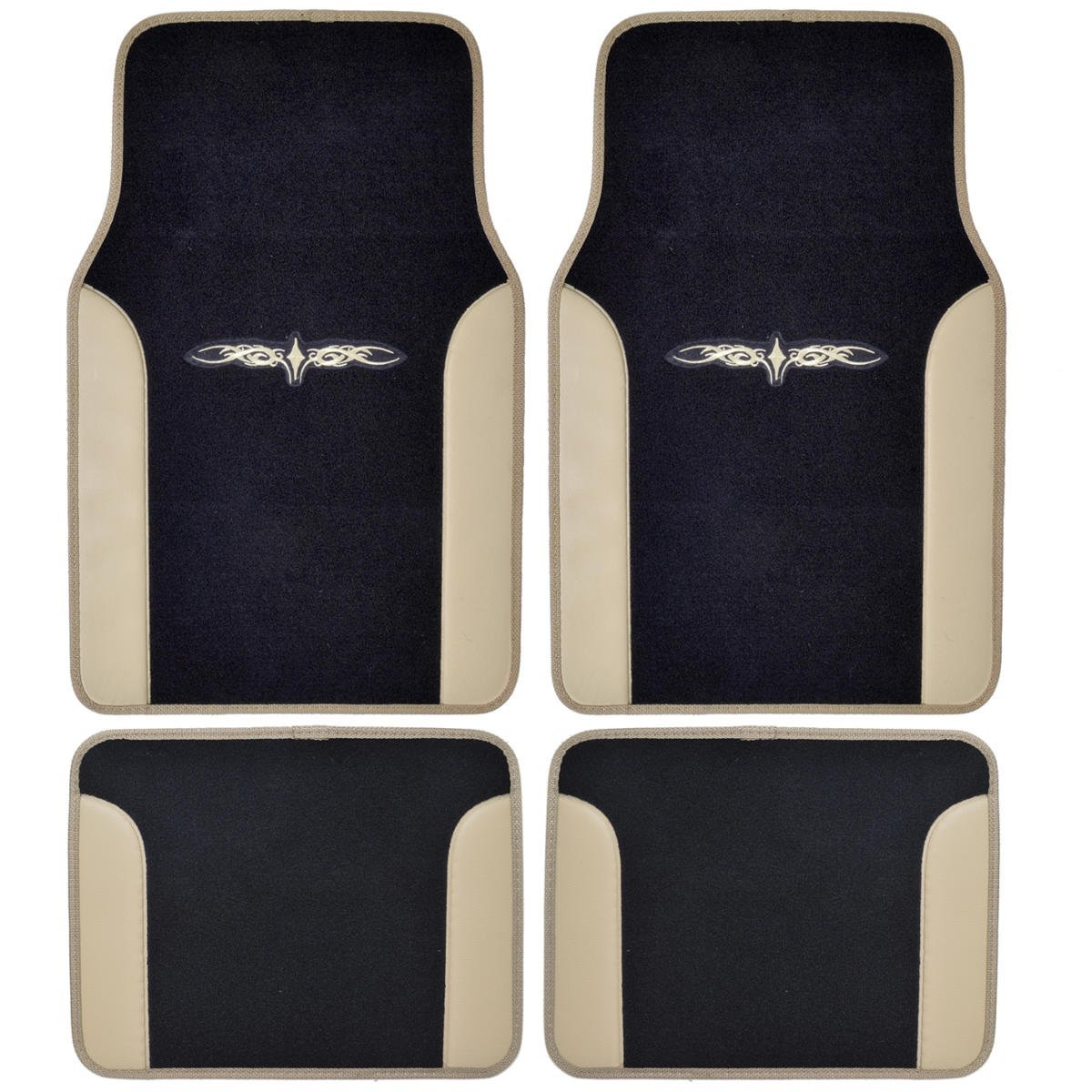 A Set of 4 Universal Fit Plush Carpet with Vinyl Trim Floor Mats For Cars / Trucks - Tribal Tan, Revitalize your interior style with BDK Rubber/Carpet Pro floor mats By BDK