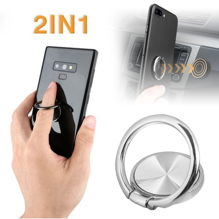 Universal Car Phone Holder Car Dashboard Air Vent Magnetic Car Mount Holder Metal Material Phone Ring Grip for All Kinds of Phones, Samsung Galaxy S9 S9 Plus S7 S8 LG HTC