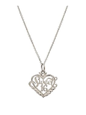 a07369e78 Product Image Sterling Silver Sweet 16 Heart Pendant Necklace, 18