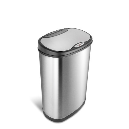 Nine Stars 13.2 Gal / 50L Motion Sensor Oval Trash Can, Stainless Steel with Stainless Steel Lid