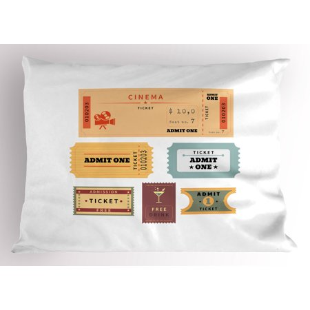Movie Theater Pillow Sham A Set of Retro Cinema and Other Events Tickets for One Vintage Illustration, Decorative Standard Queen Size Printed Pillowcase, 30 X 20 Inches, Multicolor, by Ambesonne](apple 30 inch cinema display)