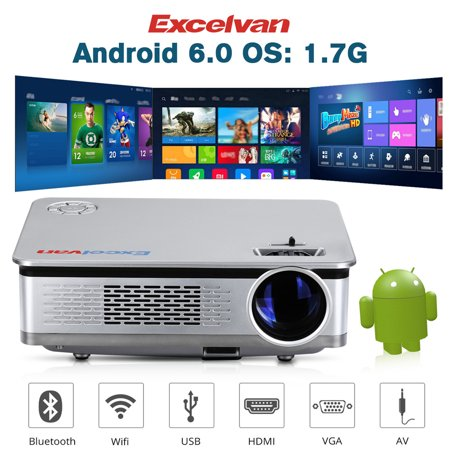 "Excelvan HT60 Home Projector Android 6 0 1080P 5 8"" LCD 3200lm LED Lamp for  Home Cinema Theater Video Games WIFI BT Multimedia"