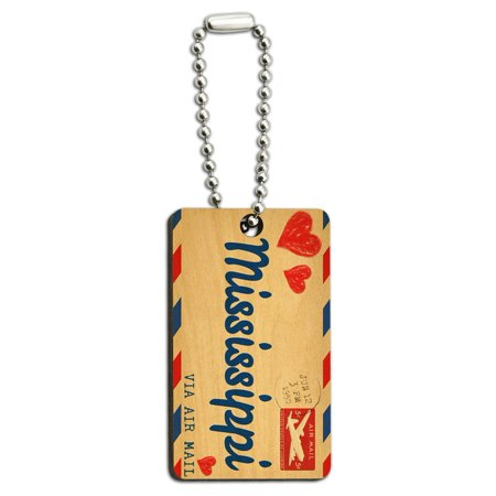 Air Mail Postcard Love for Mississippi Wood Rectangle Key Chain