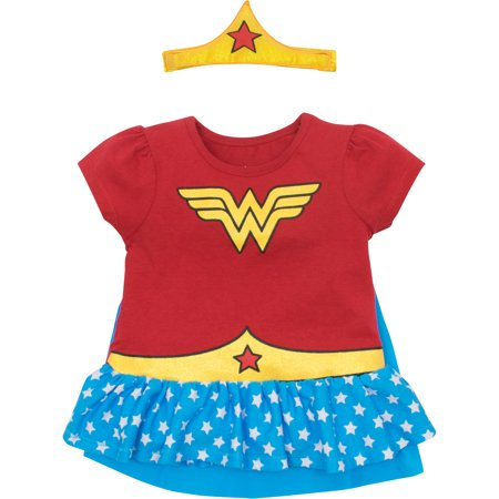 Girl Band Costumes (Wonder Woman Toddler Girls' Costume Ruffle Shirt with Cape and Headband,)