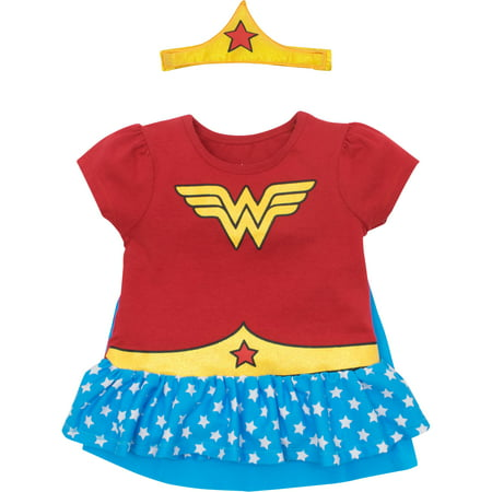 Wonder Woman Toddler Girls' Costume Ruffle Shirt with Cape and Headband, Red