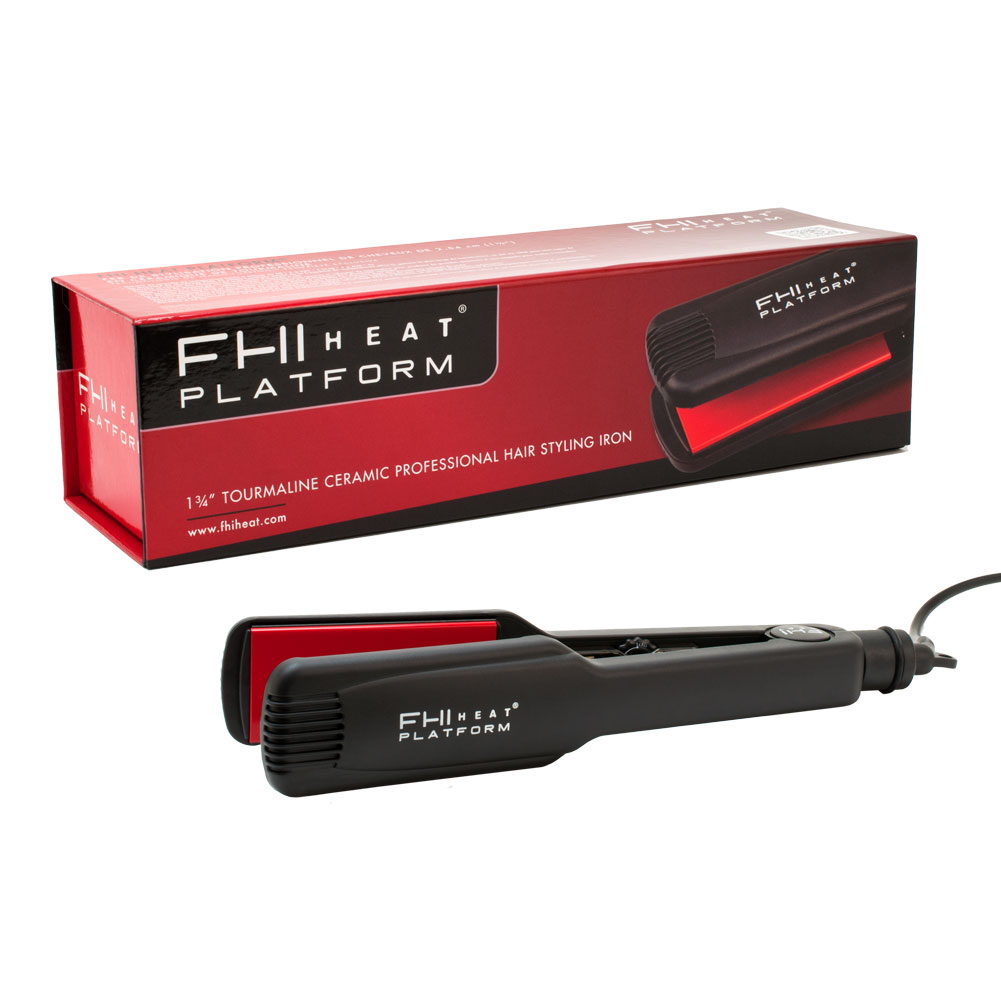 "FHI Heat Platform 1 3/4"" Tourmaline Ceramic Hair Styling Flat Iron, BLACK, FIRN7003-BLK"