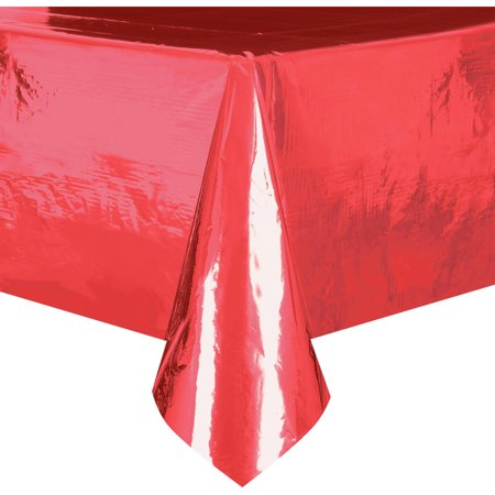 Plastic Tablecloth, 108 x 54 in, Foil Red, 1ct