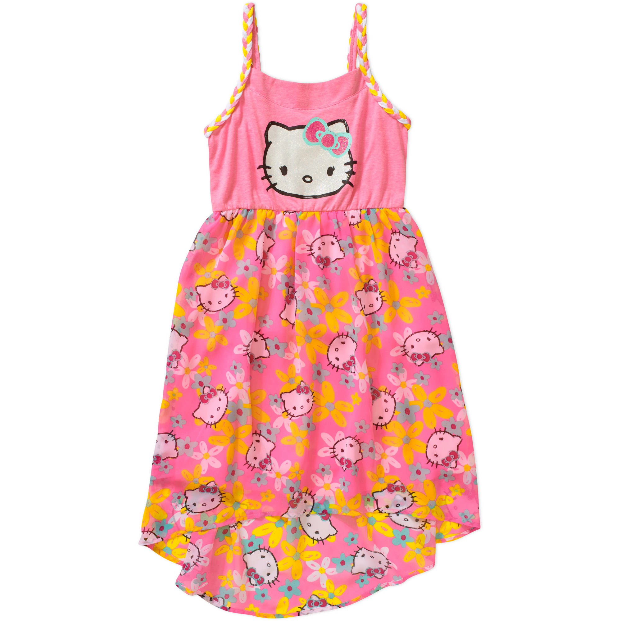 Hello Kitty Girls' Braided Tank Hi Lo Dress