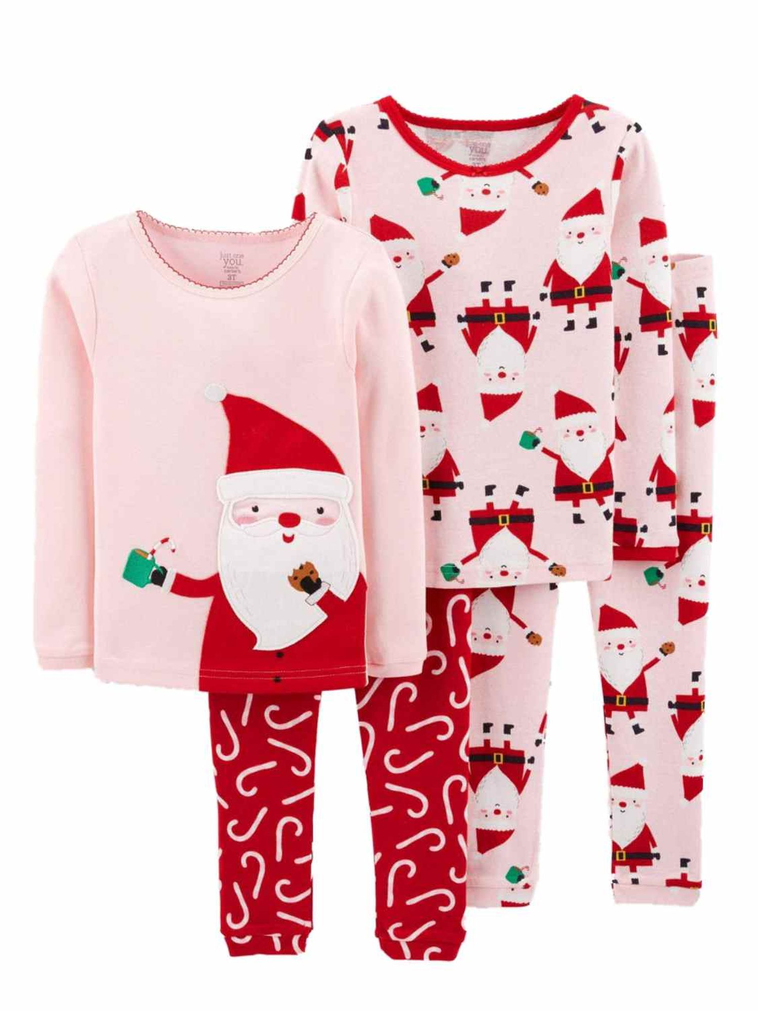 Carter's Just One You Toddler Girl Pink Christmas Santa Claus Pajamas 18 mths 3T