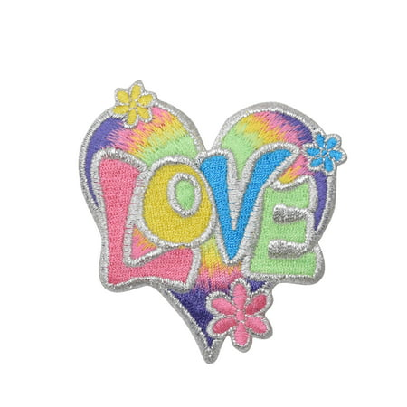 Love Heart - Multi-Color/Pastel - Iron on Applique/Embroidered Patch
