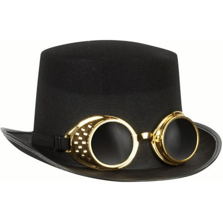 Loftus Halloween Steampunk Goggles & Adult Top Hat, Black Gold, One Size