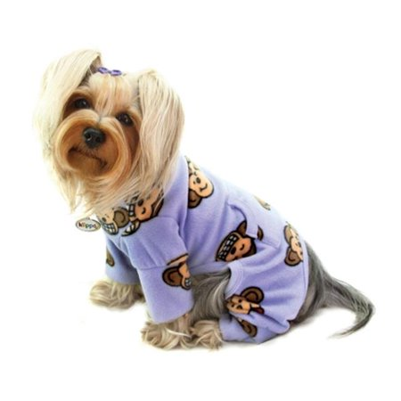 Monkey Fleece Pajama (KlippoPet KBD070XL Silly Monkey Fleece Turtleneck Pajamas - Lavender, Extra)