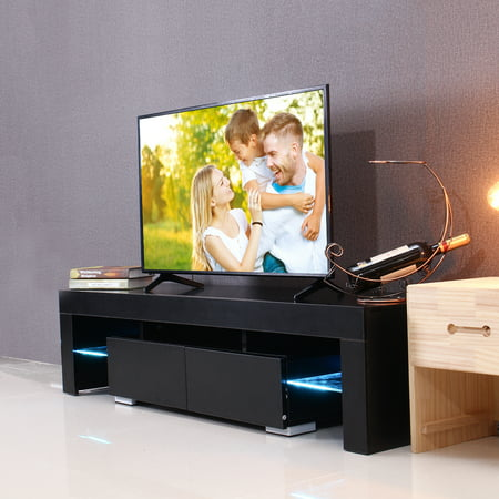 57 High Gloss Tv Unit Stand With Led Lights 2 Shelves Drawers Modern Cabinet Home White Black Wood