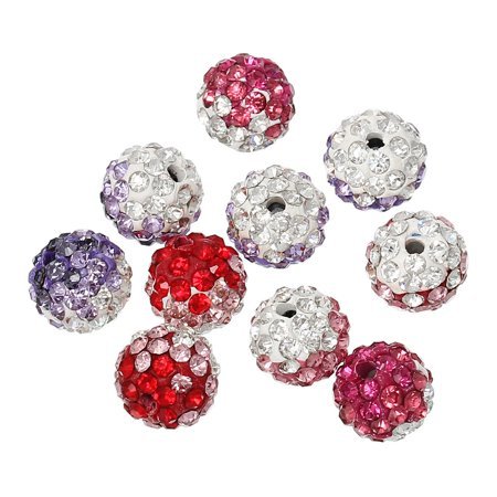 Sexy Sparkles 5 Pcs Multicolor Polymer Clay Ball Beads Pave w/ Rhinestones (Multi Color Rhinestone)