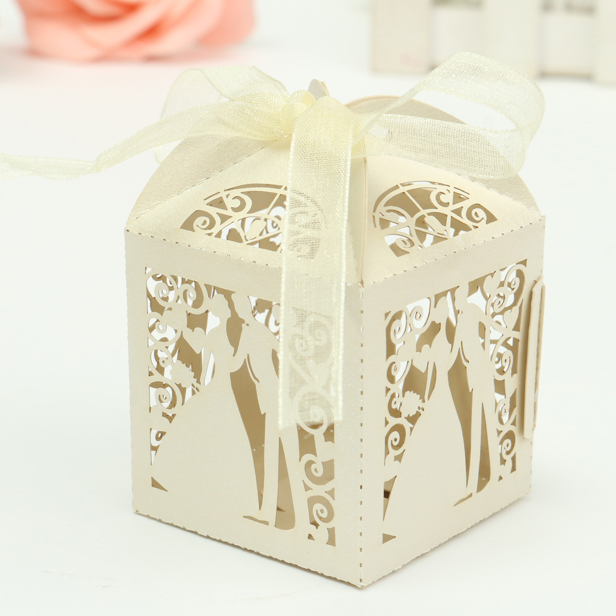 Meigar 12Pcs Laser Cut Paper Ribbon Sweets Candy Boxes Wedding Party Favors Gift Bag