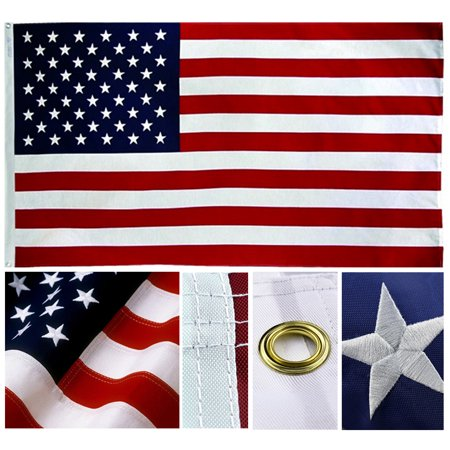 7738b6c8c405 Shop72- U.S. Nylon Flag American Flag USA Flag 3 x 5 - 210D Oxford  Embroidered Stars Sewn Stripes Canvas Header Brass Grommet Wind Side Double  Stitch ...