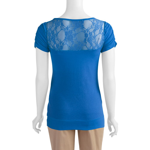 Inspire Maternity Scoop Neck Tee with Lace Back