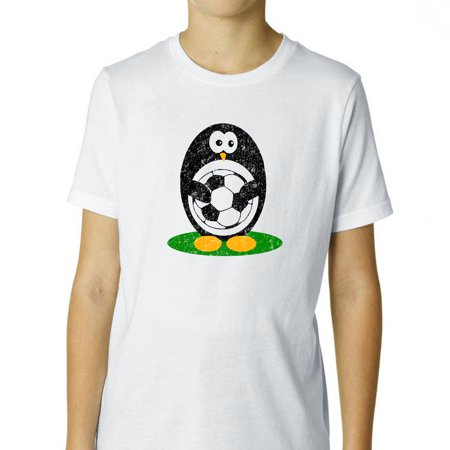 Soccer Penguin Holding Soccer Ball - Cute Boy's Cotton Youth T-Shirt (Penguin Soccer)