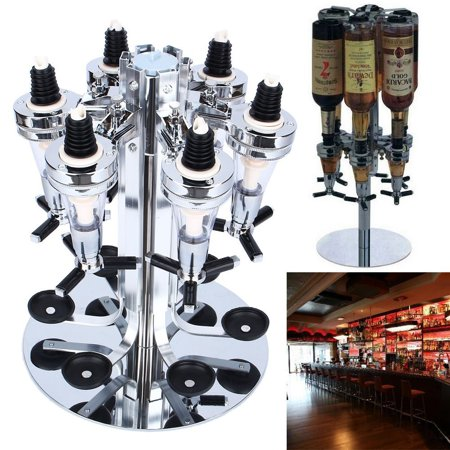 Beverage Bar - YOSOO Rotated Mounted Holder 6 Bottle Bar Beverage Liquor Dispenser Alcohol Drink Shot Cabinet Stand