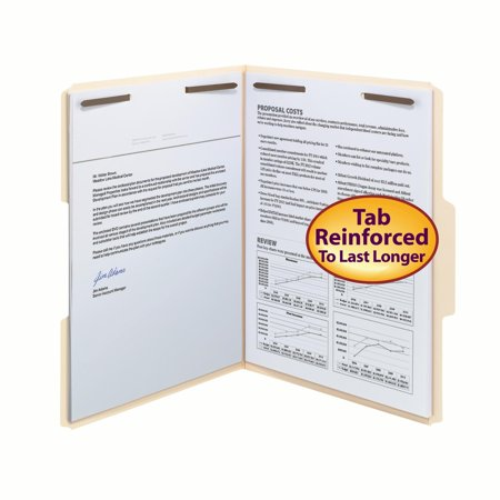 Smead Fastener Folders, 1/3 Tab, Manila, Letter Size, 50/Box