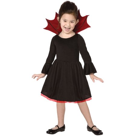 Living Fiction Cutie Vampire Child Halloween Girl Costume, Black Red (Child Girl Vampire Costume)